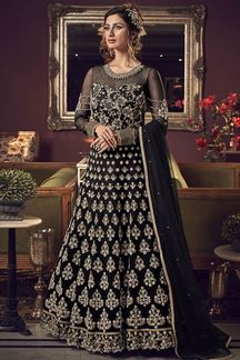 Picture of Eye-catching Black Colored Embroidered Netted Anarkali Suit (Unstitched suit)