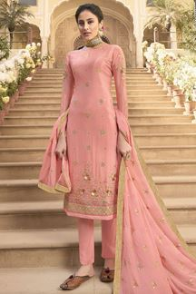 Picture of Pretty Peach Colored Party Wear Embroidered Chiffon Suit (Unstitched suit)