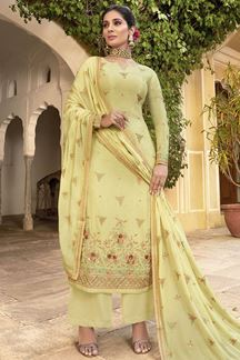 Picture of Impressive Yellow Colored Party Wear Embroidered Chiffon Suit (Unstitched suit)