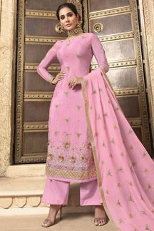 Picture of Hypnotic Pink Colored Embroidered Chiffon Suit (Unstitched suit)