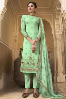 Picture of Excellent Green Colored Embroidered Chiffon Suit (Unstitched suit)