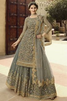 Picture of Staring Grey Colored Designer Partywear Net Palazzo Suit (Unstitched suit)