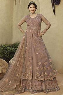 Picture of Fantastic Pink Colored Embroidered Net Anarkali Suit (Unstitched suit)
