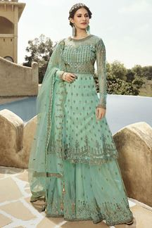 Picture of Pleasance Teal Colored Partywear Embroidered Netted Palazzo Suit (Unstitched suit)
