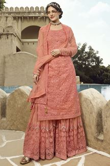 Picture of Impressive Peach Colored Partywear Embroidered Netted Palazzo Suit (Unstitched suit)