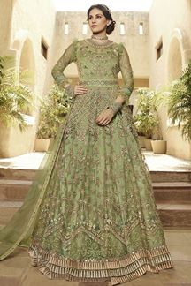 Picture of Exotic Green Colored Embroidered Net Anarkali Suit (Unstitched suit)