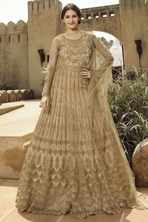 Picture of Marvellous Beige Colored Embroidered Net Anarkali Suit (Unstitched suit)