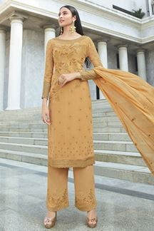 Picture of Jazzy Orange Colored Party Wear Embroidered Suit (Unstitched suit)