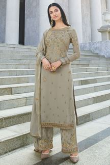 Picture of Blissful Grey Colored Party Wear Embroidered Georgette Suit (Unstitched suit)