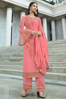 Picture of Appealing Pink Colored Party Wear Embroidered Suit (Unstitched suit)
