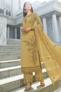 Picture of Ravishing Golden Colored Partywear Embroidered Suit (Unstitched suit)