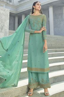 Picture of Beautiful Turquoise Colored Partywear Embroidered Georgette Suit (Unstitched suit)
