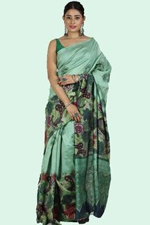 Picture of Green Colored Printed Art Silk Saree