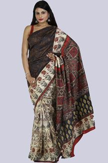 Picture of Navy Blue & Ivory Colored Printed Art Silk Saree