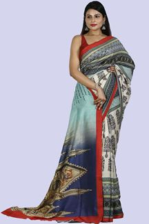 Picture of Mesmerising Multi- Colored Printed Art Silk Saree