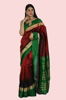 Picture of Red & Black Color Pure Bangalore Silk Saree
