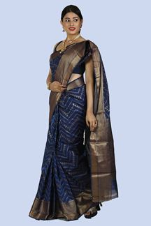 Picture of Ravishing Navy Blue Color Gadwal Silk Saree