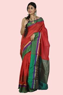 Picture of Green & Rust Color Gadwal Silk Saree