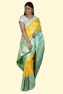 Picture of Yellow & Sea Green Color Banarasi Pure katan Silk Saree