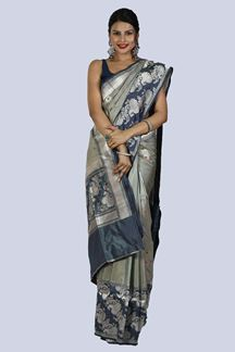 Picture of Grey color Pure Banarsi Silk saree