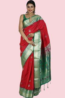 Picture of Attractive Magenta & Green Color Art Kanjivarma Saree