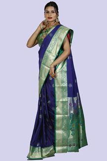 Picture of Majesty Royal Blue & Green Color Art Kanjivaram Saree