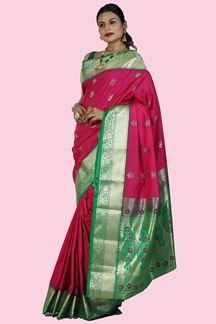 Picture of Pretty Pink & Green Colored Kanjivaram Art Silk Saree