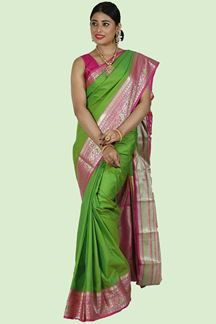 Picture of Pleasant Parrot Green & Pink Colored Kanjivaram Art Silk Saree