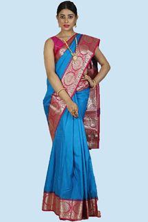 Picture of Rama Blue & Pink Color Kanjivaram Art Silk Saree