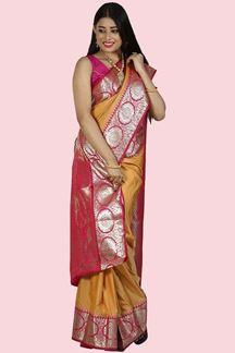 Picture of Mustard & Pink Colored Kanjivaram Art Silk Saree