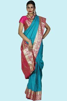 Picture of Beautiful Peacock Blue & Pink Color Kanjivaram Art Silk Saree