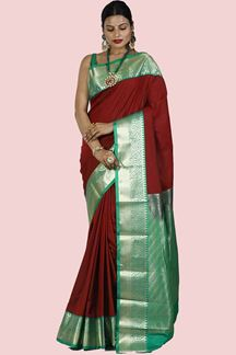 Picture of Delight Maroon & Green Colored Kanjivaram Art Silk Saree