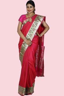 Picture of Pink & Green Colored Kanjivaram Art Silk Saree