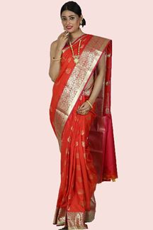 Picture of Orange & Pink Colored Art Kanjivaram Saree