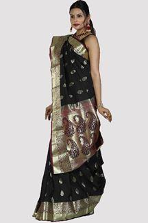 Picture of Charming Black & Magenta Color Art Kanjivaram Saree