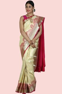 Picture of Adorable Cream- Rani Colored Art Kanjivaram Silk Saree