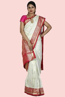 Picture of Cream & Rani Colored Art Kanjivaram Saree