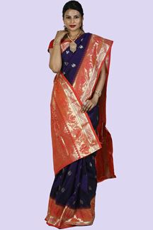 Picture of Purple & Orange Color Kanjivaram Art Silk Saree