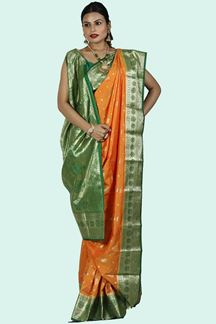 Picture of Eye-catching Orange & Green Color Art Kanjivaram Saree