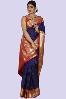 Picture of Majesty Blue & Rani Colored Kanjivaram Art Silk Saree