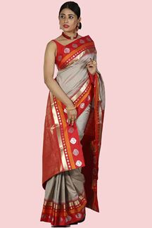 Picture of Opulent Cement Grey & Red Color Kanjivaram Art Silk Saree