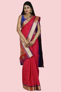 Picture of Pink & Purple Color Paithani Art Silk Saree