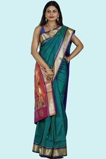 Picture of Green & Red Color Paithani Art Silk Saree