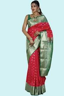 Picture of Attractive Rani  Pink Colored Art Kanjivaram Saree