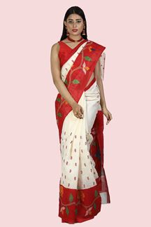 Picture of Fantastic Cream & Red Colored Festive Wear Art Jute Silk Saree