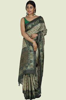 Picture of Olive Green Color Art Silk Saree
