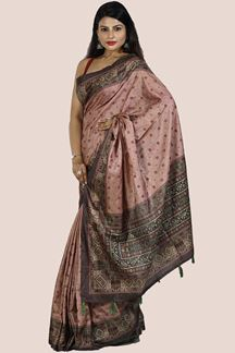 Picture of Brown & Peach Color Art Silk Saree