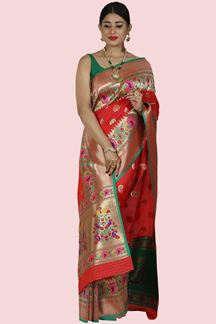 Picture of Red Colored Banarasi Art Silk Saree