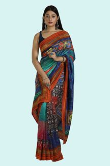 Picture of Multi- Colored Printed Art Silk Saree