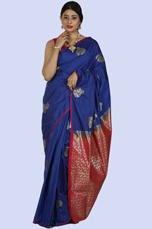 Picture of Royal Blue & Pink Colored Banarasi Art Silk Saree